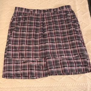 Oakley plaid Golf shorts red Black men's 36 EUC